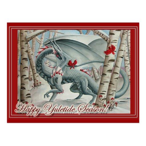 Dragon Christmas Yule Card Post Cards