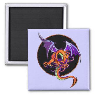 Dragon Circle 2 Inch Square Magnet