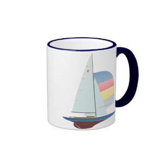 Dragon Class Racing Sailboat Ringer Coffee Mug