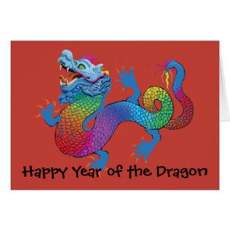 Dragón colorido en el Año Nuevo chino rojo C de sa Felicitaciones