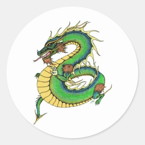 Dragón combinado pegatina redonda
