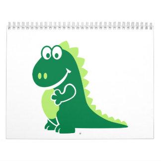 Dragón cómico verde calendarios