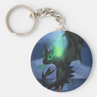 Dragón con el fuego verde llavero redondo tipo pin