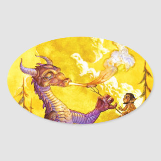 Dragon Cookout Oval Sticker
