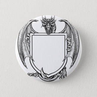 Dragon Crest Coat of Arms Shield Heraldic Emblem Pinback Button