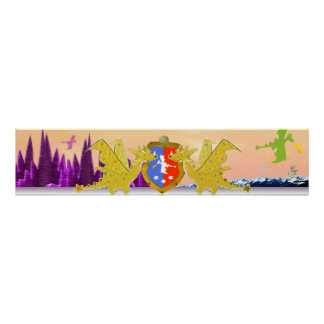 Dragon Crest Cute Cartoon Dragons World Poster