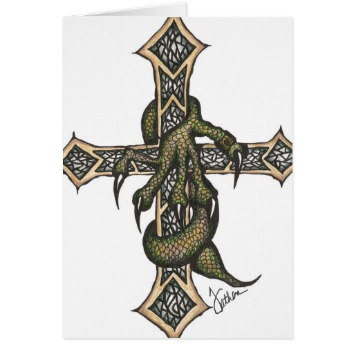 Dragon Cross in Color Card