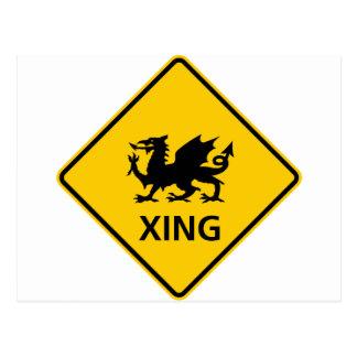 Dragon Crossing Highway Sign Postcard