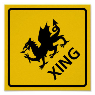 Dragon Crossing Highway Sign Poster