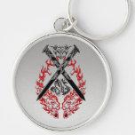 Dragón cruzado de las espadas llaveros personalizados