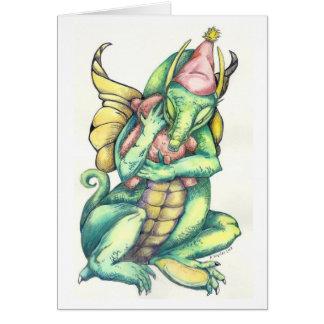 Dragon Cuddling Teddy Bear for Comfort Cards
