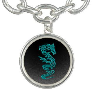 Dragon cyan charm bracelet
