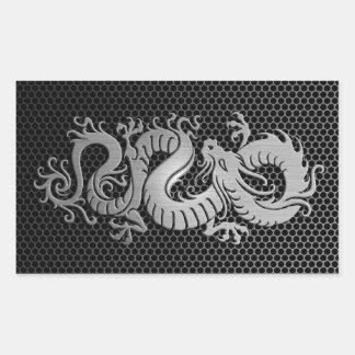 Dragón de acero del chino de la malla pegatina rectangular