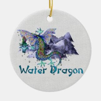 Dragón de agua adorno navideño redondo de cerámica