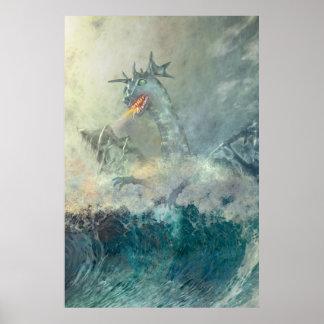 Dragón de agua chino poster