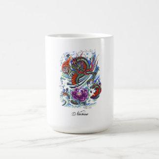 Dragón de agua oriental fresco Lotus Taza De Café