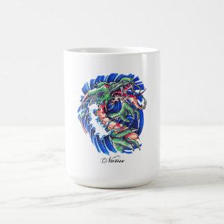 Dragón de agua oriental verde fresco taza de café