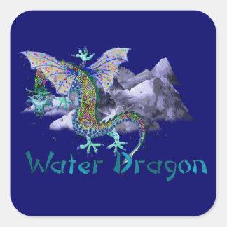 Dragón de agua pegatinas cuadradases