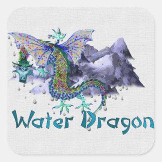 Dragón de agua pegatina cuadrada