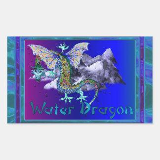 Dragón de agua pegatina rectangular