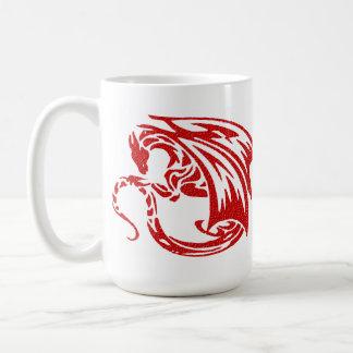 Dragón de alas rojas taza