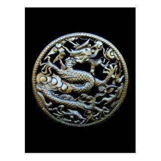Dragón de bronce chino/saludos orientales y regalo tarjeta postal