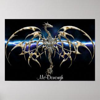 Dragón de bronce en el cielo del relámpago póster