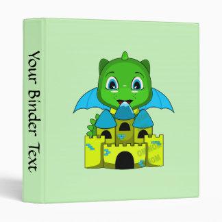 Dragón de Chibi con un castillo azul y amarillo