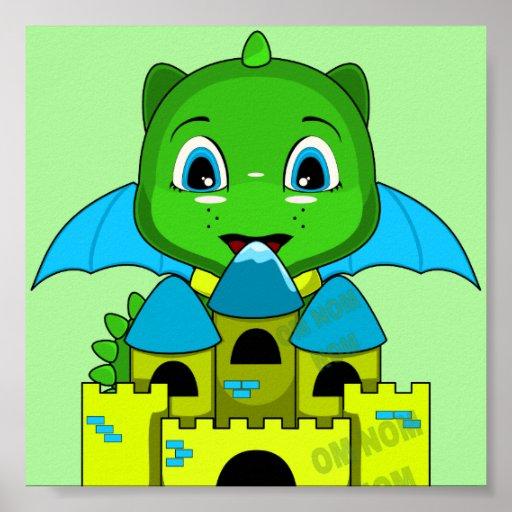 Dragón de Chibi con un castillo azul y amarillo Poster