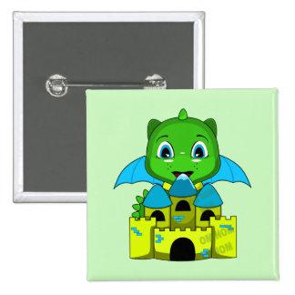 Dragón de Chibi con un castillo azul y amarillo Pin Cuadrada 5 Cm