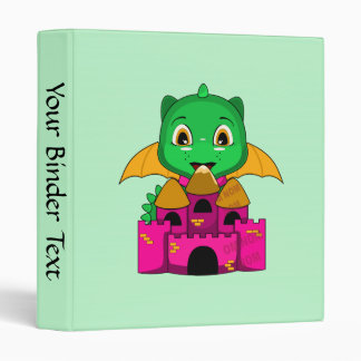 Dragón de Chibi con un naranja y un castillo rosad