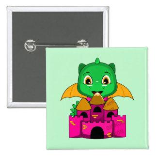 Dragón de Chibi con un naranja y un castillo rosad Pin Cuadrada 5 Cm
