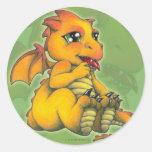 Dragón de Chibi Etiqueta Redonda