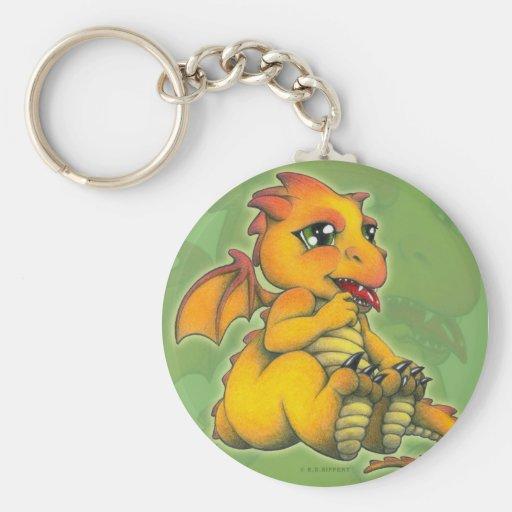 Dragón de Chibi Llavero Redondo Tipo Pin