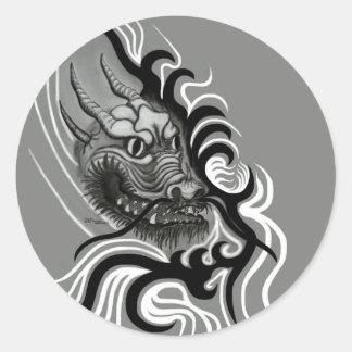 Dragón de China en Tattoostyle Pegatina Redonda