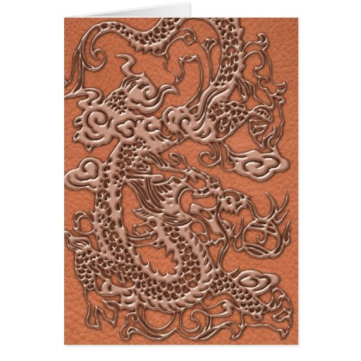Dragón de cobre en la textura de cuero coralina tarjeta de felicitación
