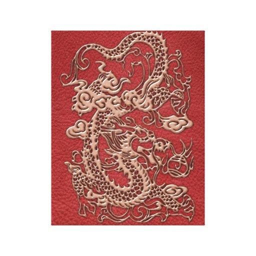 Dragón de cobre en textura de cuero roja impresión en lienzo estirada