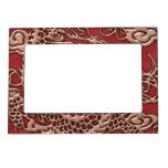 Dragón de cobre en textura de cuero roja marcos magneticos de fotos
