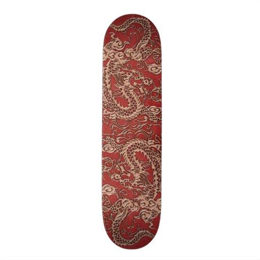 Dragón de cobre en textura de cuero roja patín personalizado