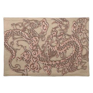 Dragón de cobre en textura del cuero de Shell Manteles Individuales