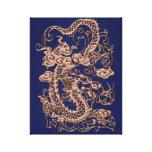 Dragón de cobre en textura del cuero del azul real impresiones en lona estiradas