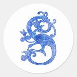 Dragón de cristal azul medieval pegatina redonda