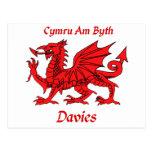 Dragón de Davies Galés Tarjeta Postal