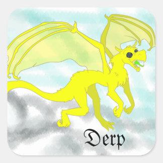 Dragón de Derpy Pegatina Cuadrada