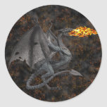 Dragón de Fuego-Respiración Etiquetas Redondas