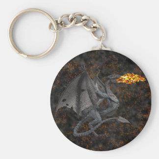 Dragón de Fuego-Respiración Llavero Redondo Tipo Pin