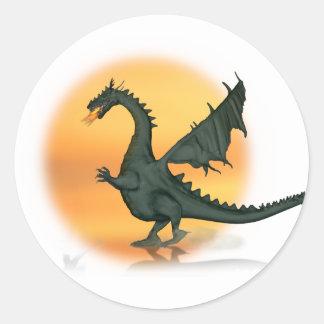 dragón de Fuego-respiración Pegatina Redonda