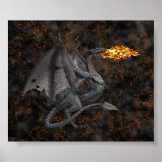 Dragón de Fuego-Respiración Póster