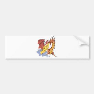 dragón de fuego-respiración rojo etiqueta de parachoque