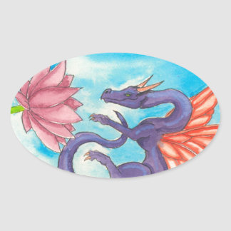 Dragón de hadas púrpura colcomanias de oval